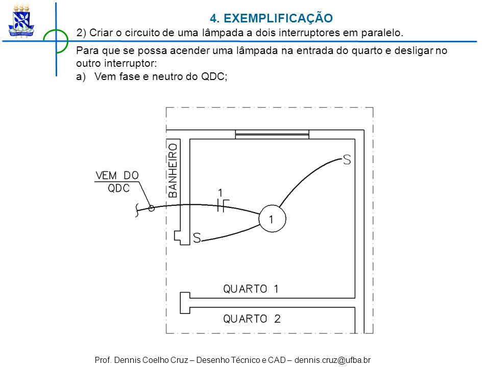 Prof. Dennis Coelho Cruz – Desenho Técnico e CAD – dennis.cruz@ufba.br 4. EXEMPLIFICAÇÃO 2) Criar o circuito de uma lâmpada a dois interruptores em pa