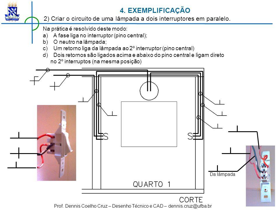 Prof. Dennis Coelho Cruz – Desenho Técnico e CAD – dennis.cruz@ufba.br Na prática é resolvido deste modo: a)A fase liga no interruptor (pino central);