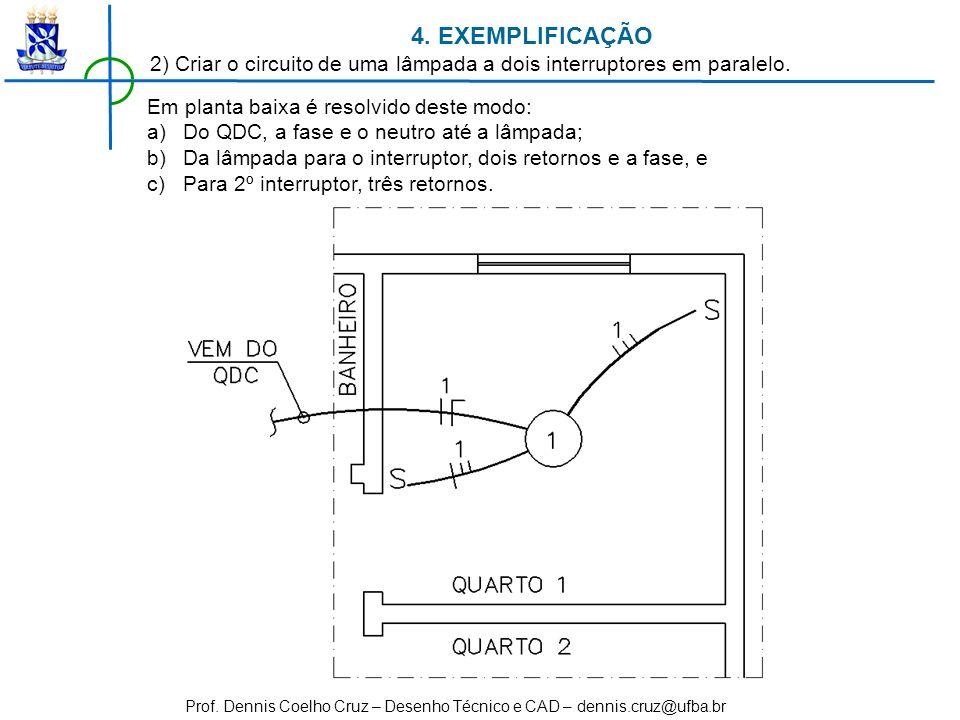 Prof. Dennis Coelho Cruz – Desenho Técnico e CAD – dennis.cruz@ufba.br Em planta baixa é resolvido deste modo: a)Do QDC, a fase e o neutro até a lâmpa