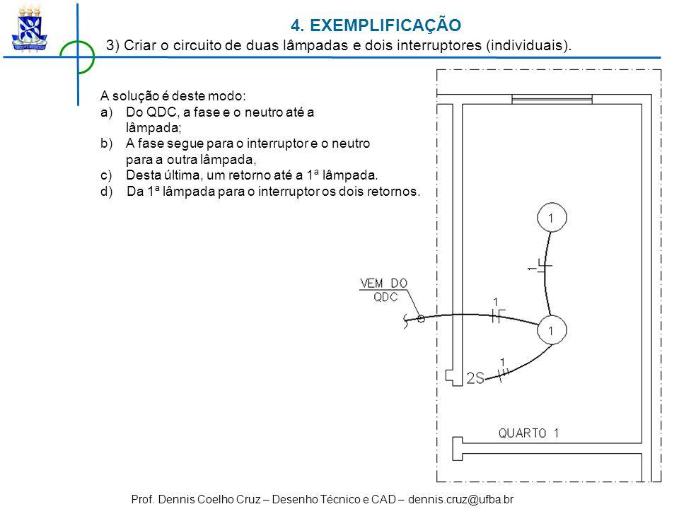 Prof. Dennis Coelho Cruz – Desenho Técnico e CAD – dennis.cruz@ufba.br 4. EXEMPLIFICAÇÃO 3) Criar o circuito de duas lâmpadas e dois interruptores (in