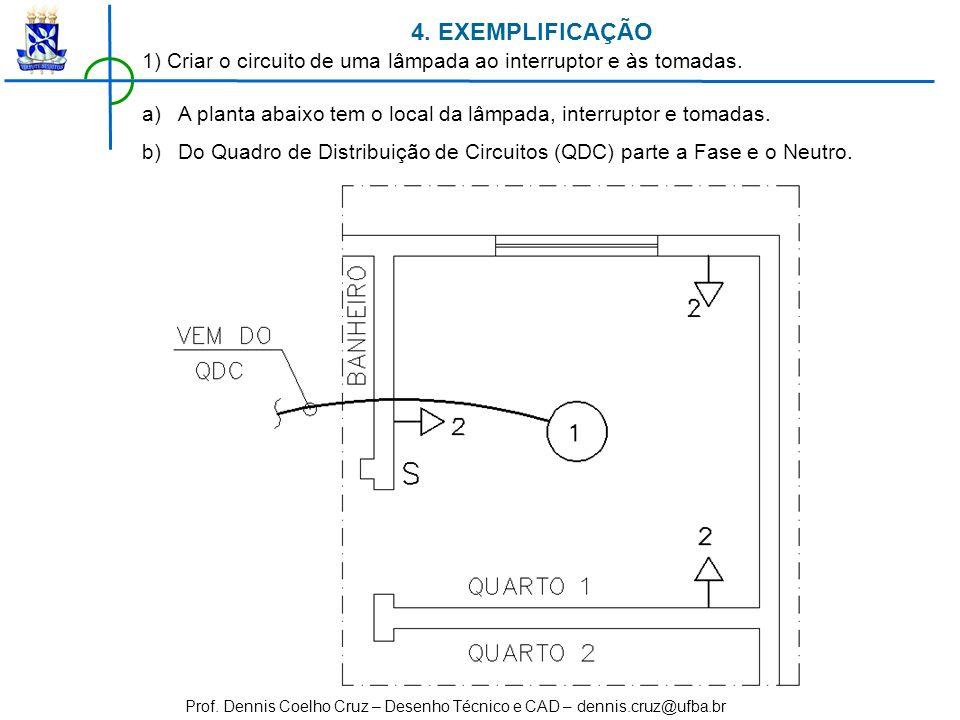 Prof. Dennis Coelho Cruz – Desenho Técnico e CAD – dennis.cruz@ufba.br 4. EXEMPLIFICAÇÃO 1) Criar o circuito de uma lâmpada ao interruptor e às tomada