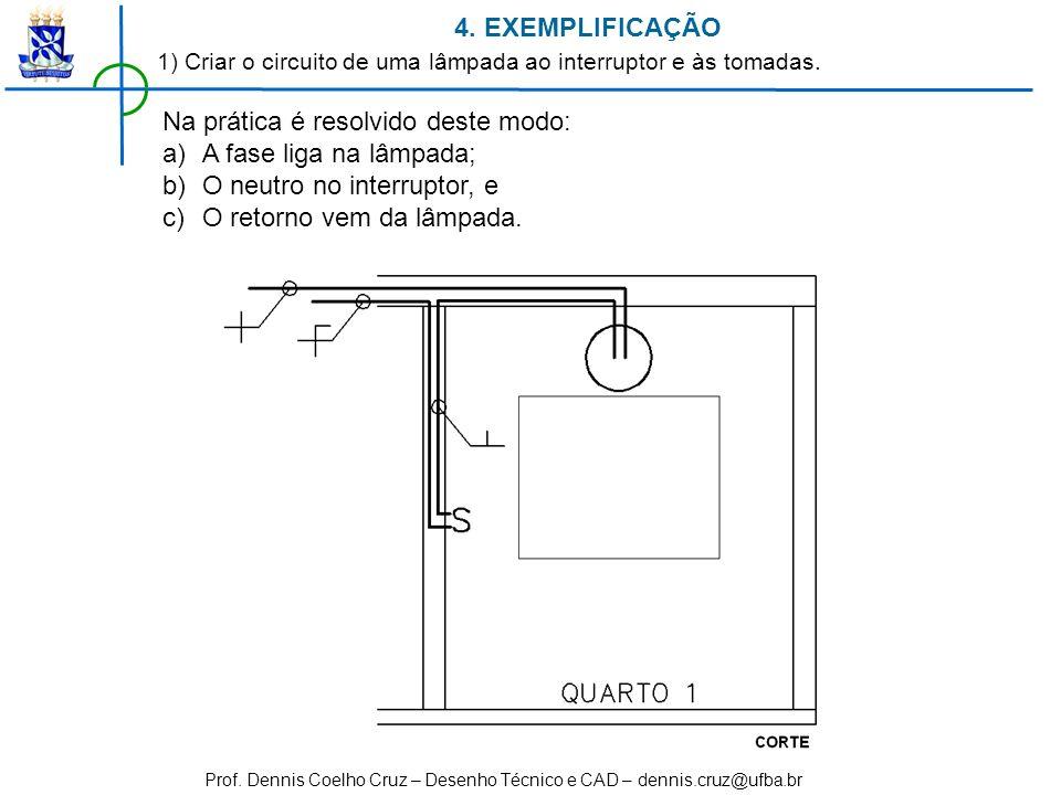 Prof. Dennis Coelho Cruz – Desenho Técnico e CAD – dennis.cruz@ufba.br Na prática é resolvido deste modo: a)A fase liga na lâmpada; b)O neutro no inte
