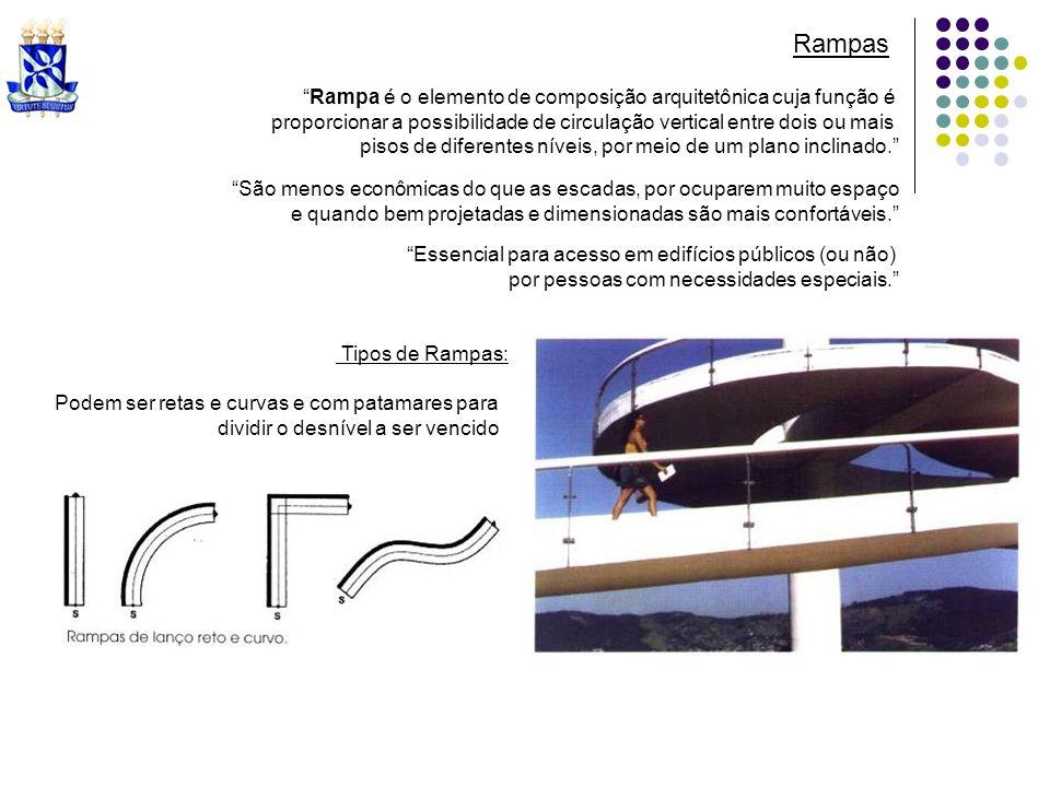 Rampa é o elemento de composição arquitetônica cuja função é proporcionar a possibilidade de circulação vertical entre dois ou mais pisos de diferente