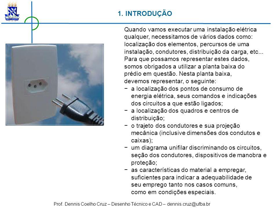 Prof. Dennis Coelho Cruz – Desenho Técnico e CAD – dennis.cruz@ufba.br 1. INTRODUÇÃO Quando vamos executar uma instalação elétrica qualquer, necessita