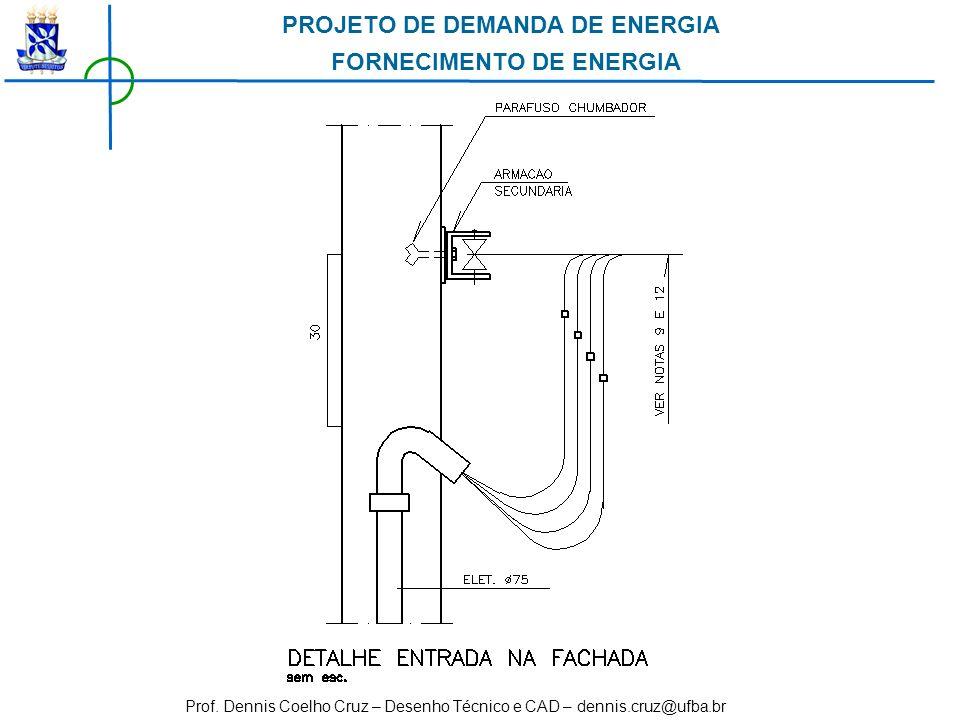 Prof. Dennis Coelho Cruz – Desenho Técnico e CAD – dennis.cruz@ufba.br PROJETO DE DEMANDA DE ENERGIA FORNECIMENTO DE ENERGIA