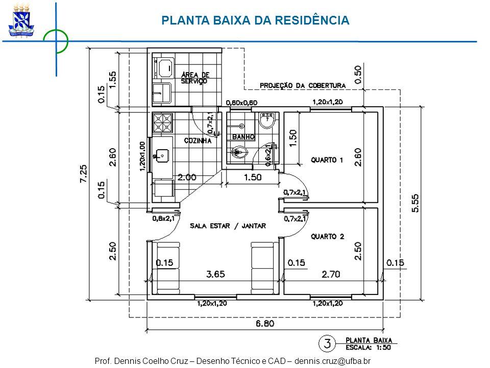 Prof. Dennis Coelho Cruz – Desenho Técnico e CAD – dennis.cruz@ufba.br PLANTA BAIXA DA RESIDÊNCIA