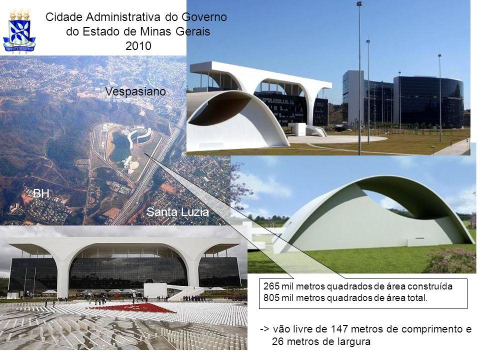 Cidade Administrativa do Governo do Estado de Minas Gerais 2010 -> vão livre de 147 metros de comprimento e 26 metros de largura 265 mil metros quadra