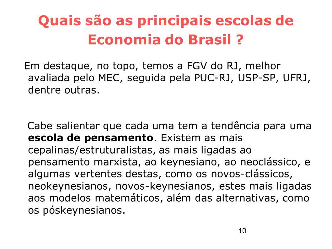 Quais são as principais escolas de Economia do Brasil ? Em destaque, no topo, temos a FGV do RJ, melhor avaliada pelo MEC, seguida pela PUC-RJ, USP-SP