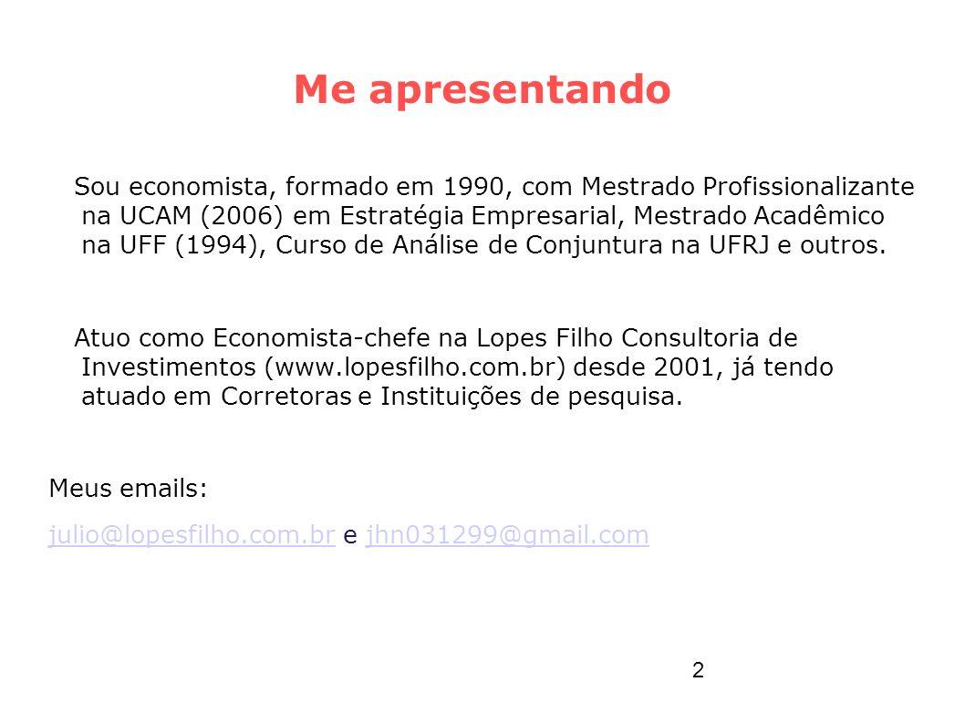 Me apresentando Sou economista, formado em 1990, com Mestrado Profissionalizante na UCAM (2006) em Estratégia Empresarial, Mestrado Acadêmico na UFF (
