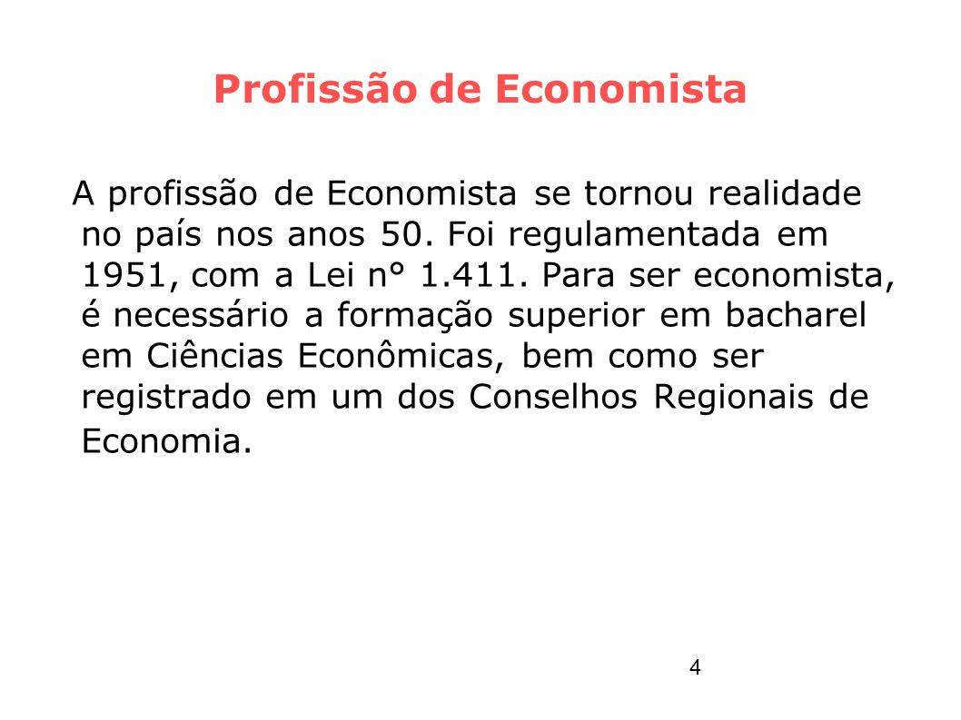 Profissão de Economista A profissão de Economista se tornou realidade no país nos anos 50. Foi regulamentada em 1951, com a Lei n° 1.411. Para ser eco