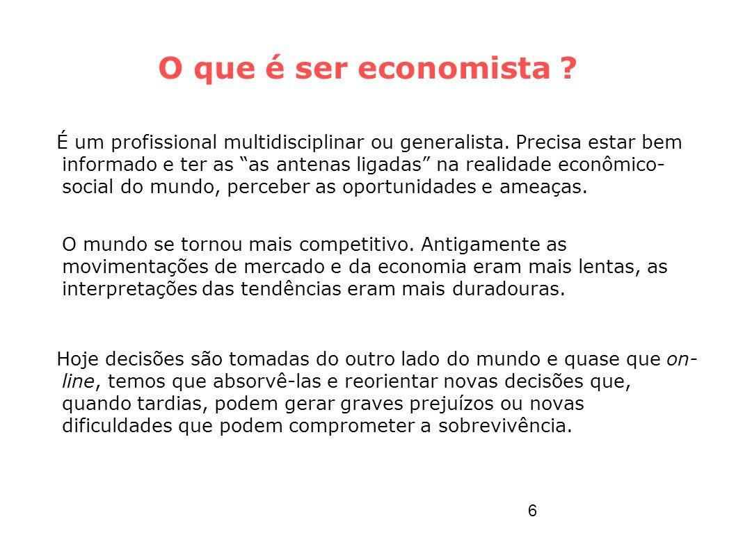O que é ser economista ? É um profissional multidisciplinar ou generalista. Precisa estar bem informado e ter as as antenas ligadas na realidade econô