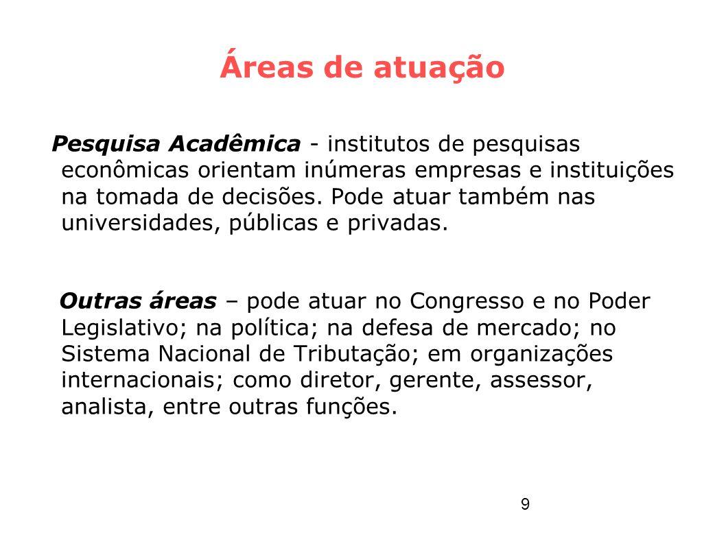 Áreas de atuação Pesquisa Acadêmica - institutos de pesquisas econômicas orientam inúmeras empresas e instituições na tomada de decisões. Pode atuar t