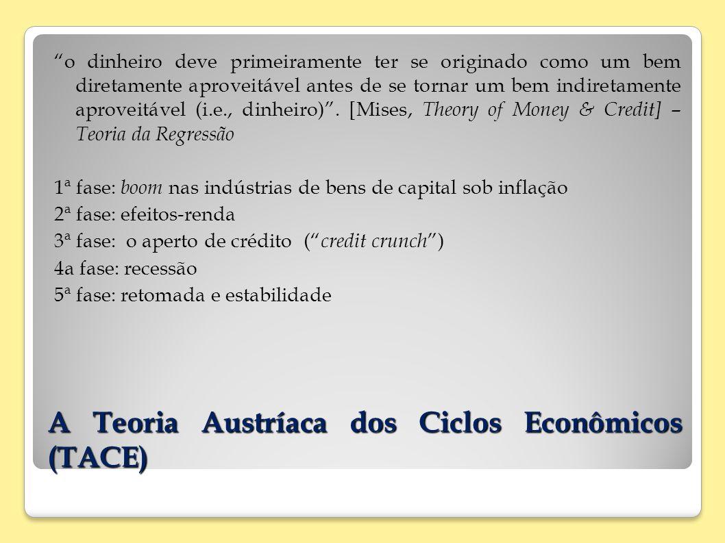 A Teoria Austríaca dos Ciclos Econômicos (TACE) o dinheiro deve primeiramente ter se originado como um bem diretamente aproveitável antes de se tornar