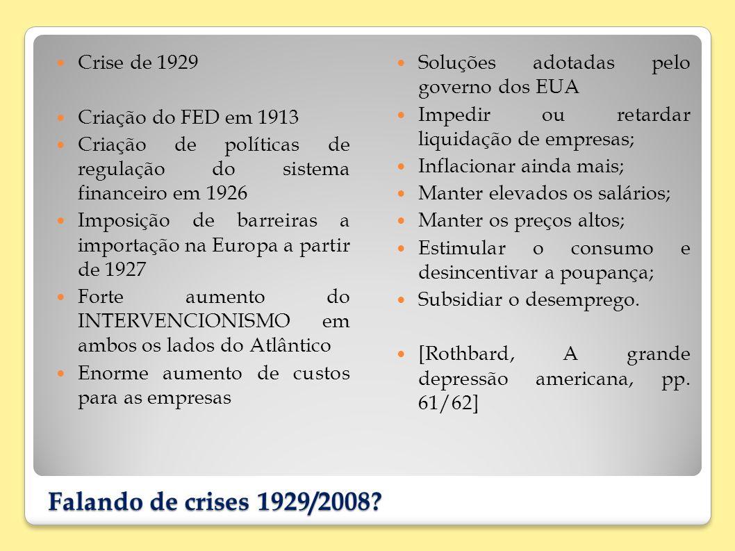 Falando de crises 1929/2008? Crise de 1929 Criação do FED em 1913 Criação de políticas de regulação do sistema financeiro em 1926 Imposição de barreir