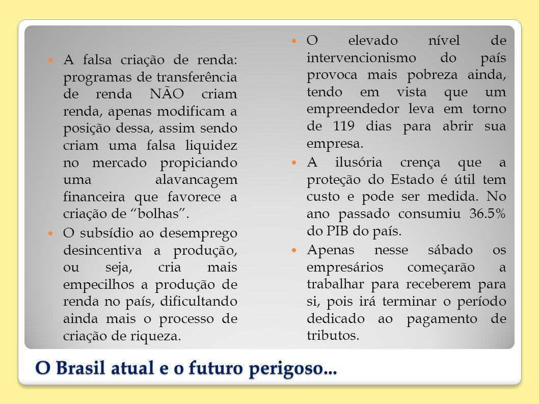 O Brasil atual e o futuro perigoso... A falsa criação de renda: programas de transferência de renda NÃO criam renda, apenas modificam a posição dessa,