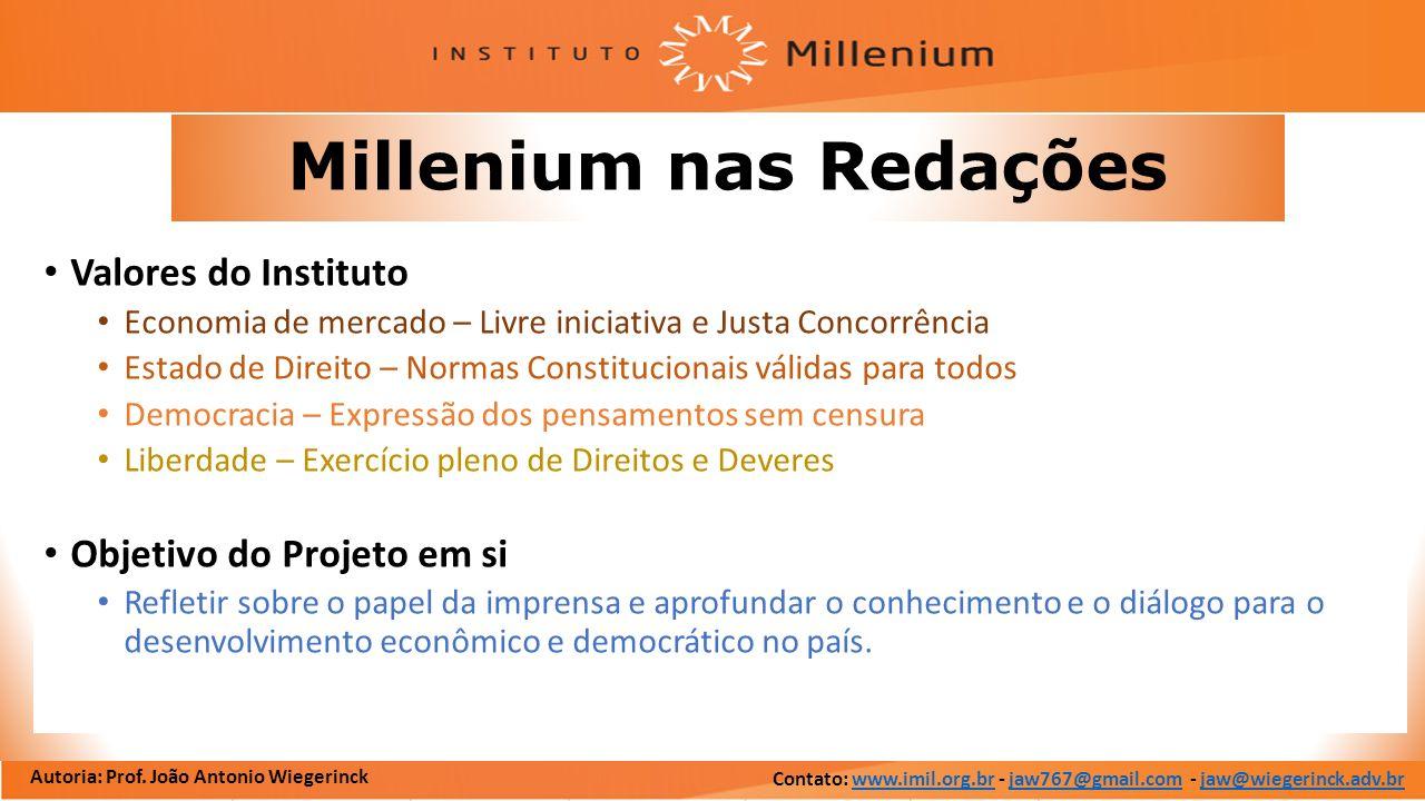 Millenium nas Redações Valores do Instituto Economia de mercado – Livre iniciativa e Justa Concorrência Estado de Direito – Normas Constitucionais vál