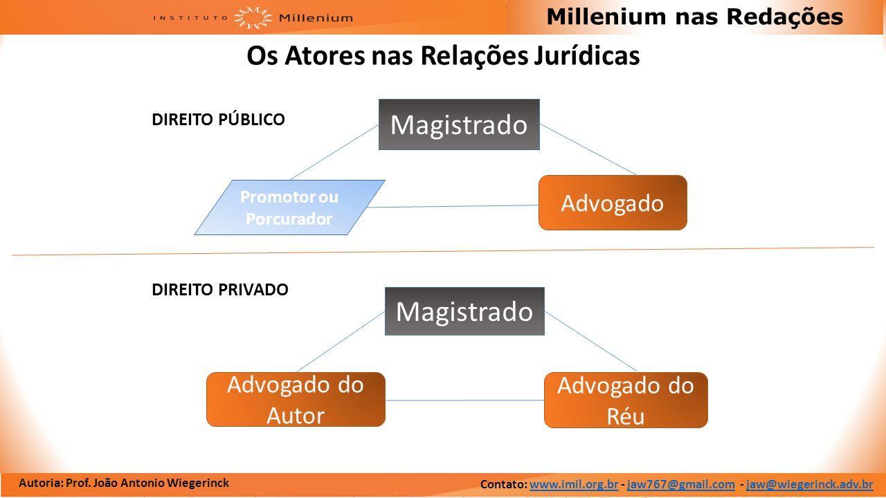 Autoria: Prof. João Antonio Wiegerinck Millenium nas Redações Os Atores nas Relações Jurídicas DIREITO PÚBLICO DIREITO PRIVADO Advogado do Réu Advogad