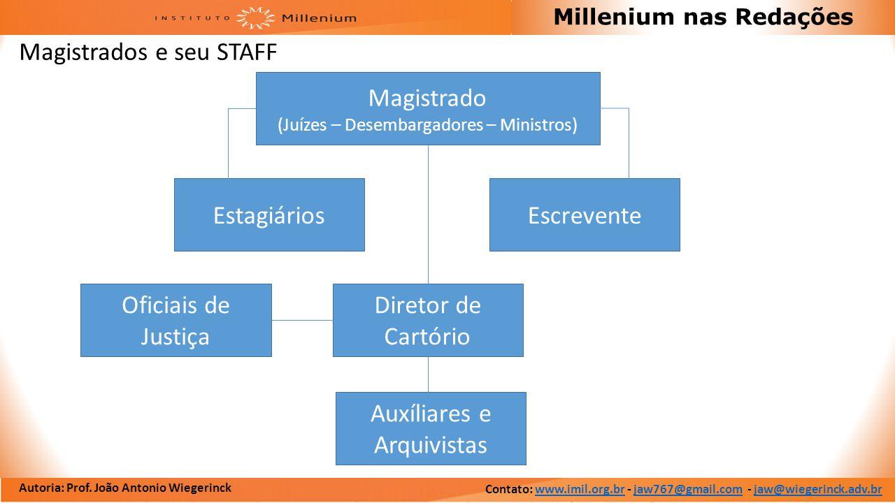 Autoria: Prof. João Antonio Wiegerinck Millenium nas Redações Magistrados e seu STAFF Oficiais de Justiça Auxíliares e Arquivistas Diretor de Cartório