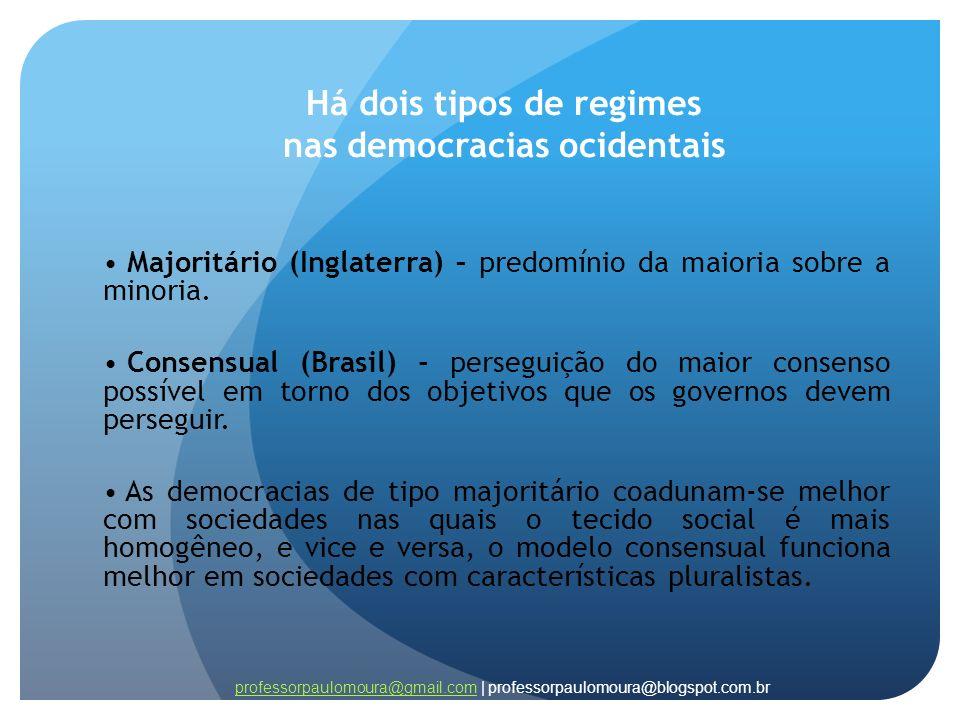 Há dois tipos de regimes nas democracias ocidentais Majoritário (Inglaterra) – predomínio da maioria sobre a minoria. Consensual (Brasil) - perseguiçã