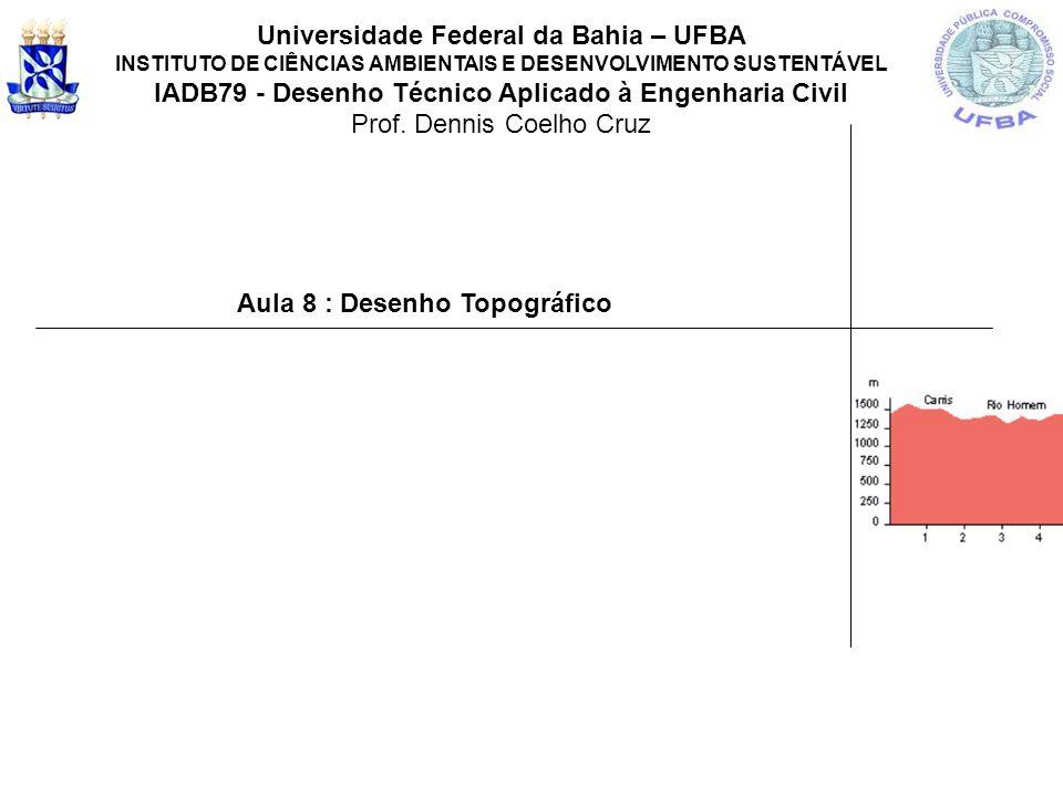 Aula 8 : Desenho Topográfico Universidade Federal da Bahia – UFBA INSTITUTO DE CIÊNCIAS AMBIENTAIS E DESENVOLVIMENTO SUSTENTÁVEL IADB79 - Desenho Técn