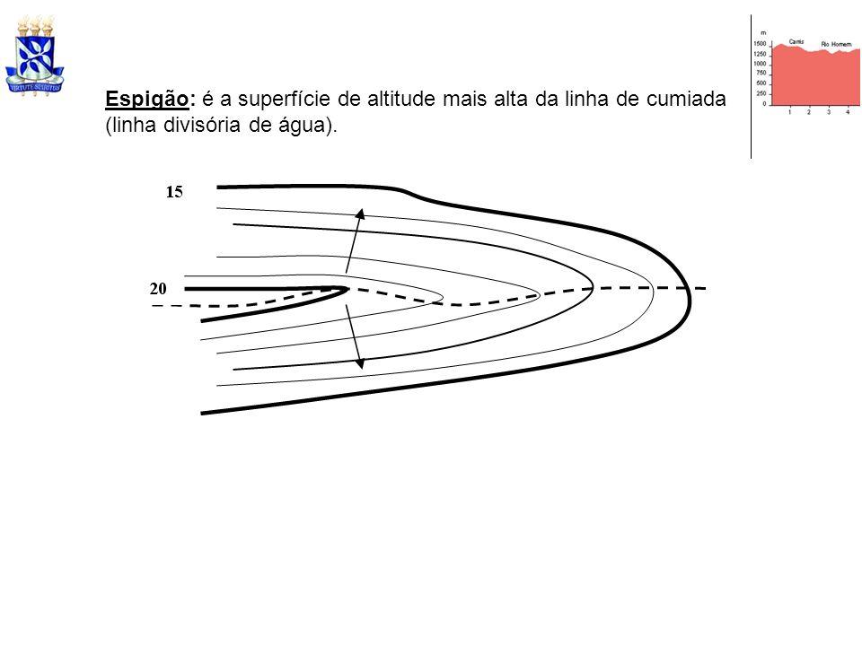 Espigão: é a superfície de altitude mais alta da linha de cumiada (linha divisória de água).