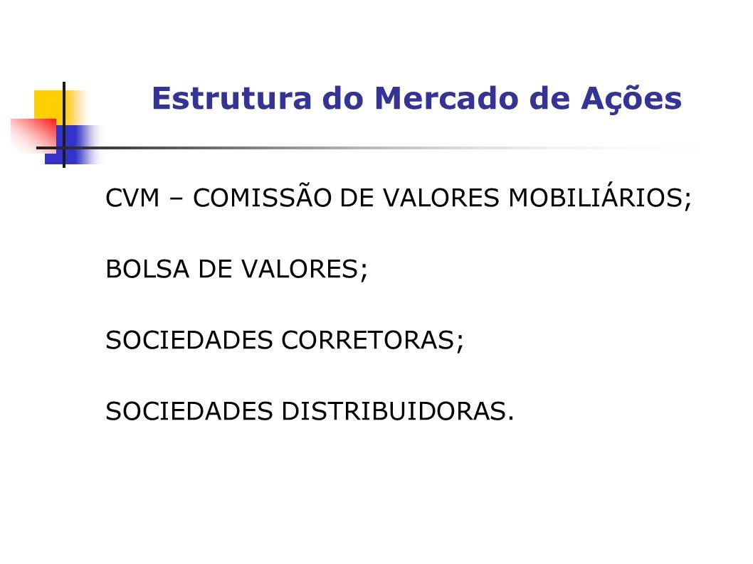 CVM – COMISSÃO DE VALORES MOBILIÁRIOS; BOLSA DE VALORES; SOCIEDADES CORRETORAS; SOCIEDADES DISTRIBUIDORAS. Estrutura do Mercado de Ações