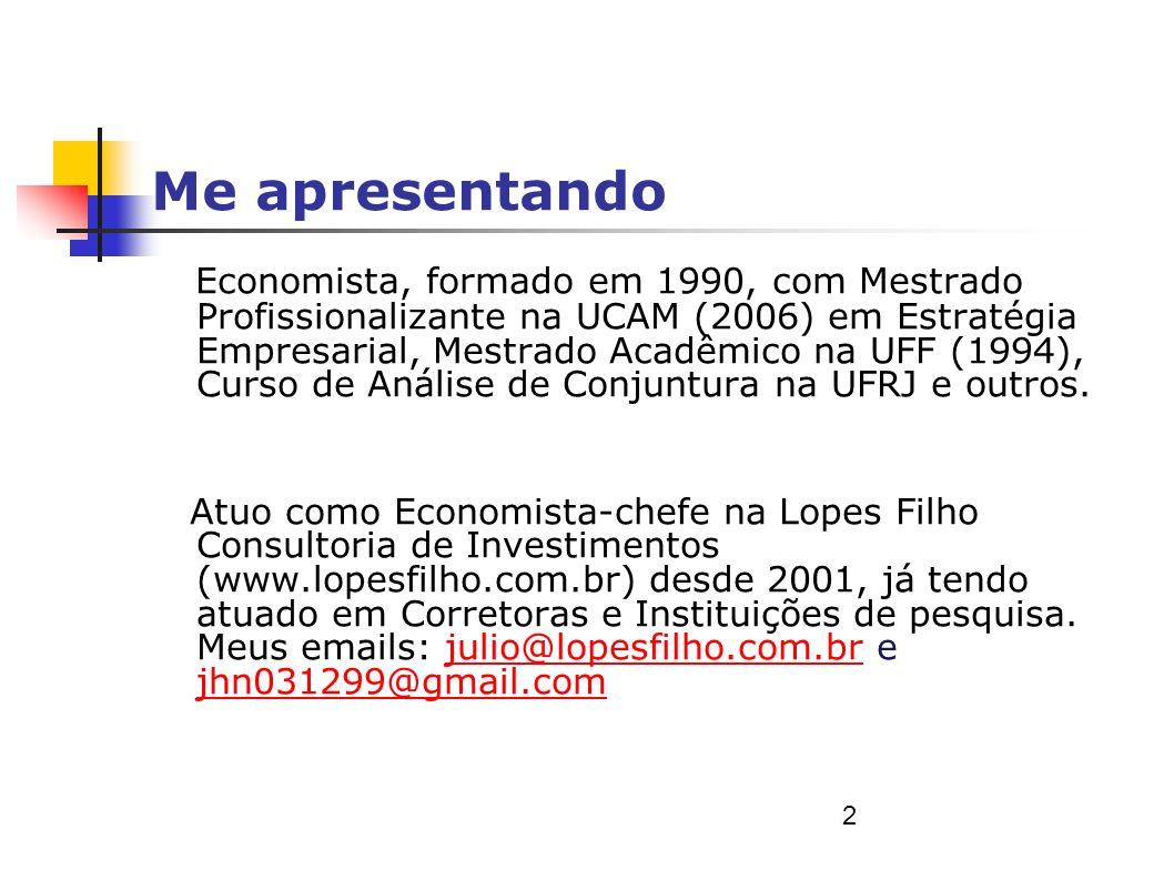 Me apresentando Economista, formado em 1990, com Mestrado Profissionalizante na UCAM (2006) em Estratégia Empresarial, Mestrado Acadêmico na UFF (1994), Curso de Análise de Conjuntura na UFRJ e outros.