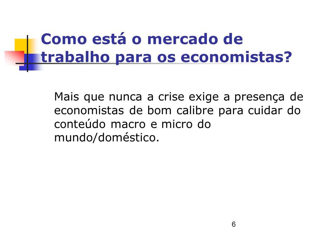 Como está o mercado de trabalho para os economistas? Mais que nunca a crise exige a presença de economistas de bom calibre para cuidar do conteúdo mac