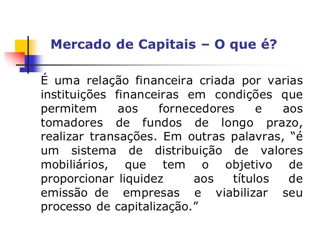 Mercado de Capitais – O que é? É uma relação financeira criada por varias instituições financeiras em condições que permitem aos fornecedores e aos to