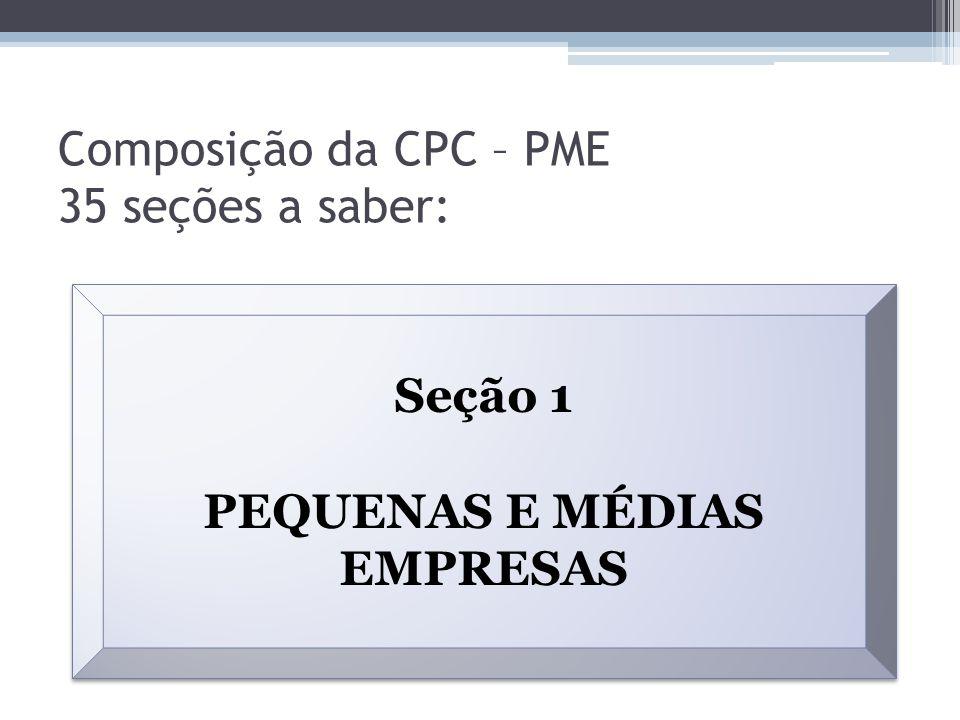 Composição da CPC – PME 35 seções a saber: Seção 1 PEQUENAS E MÉDIAS EMPRESAS Seção 1 PEQUENAS E MÉDIAS EMPRESAS