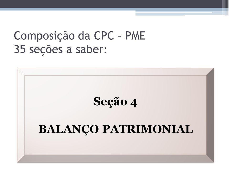 Composição da CPC – PME 35 seções a saber: Seção 4 BALANÇO PATRIMONIAL Seção 4 BALANÇO PATRIMONIAL
