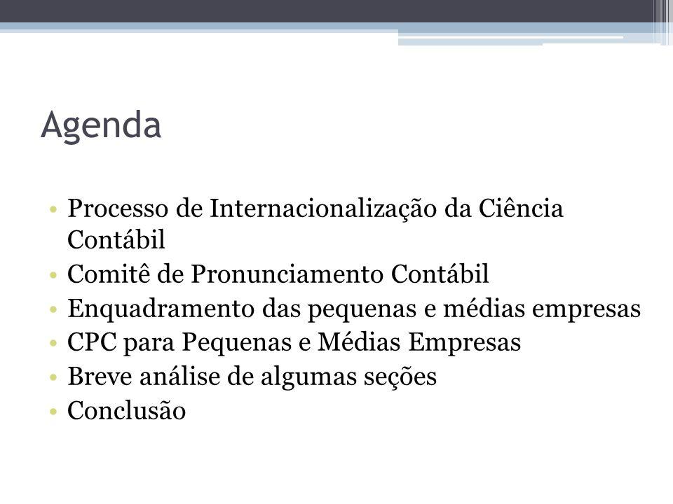 Agenda Processo de Internacionalização da Ciência Contábil Comitê de Pronunciamento Contábil Enquadramento das pequenas e médias empresas CPC para Peq