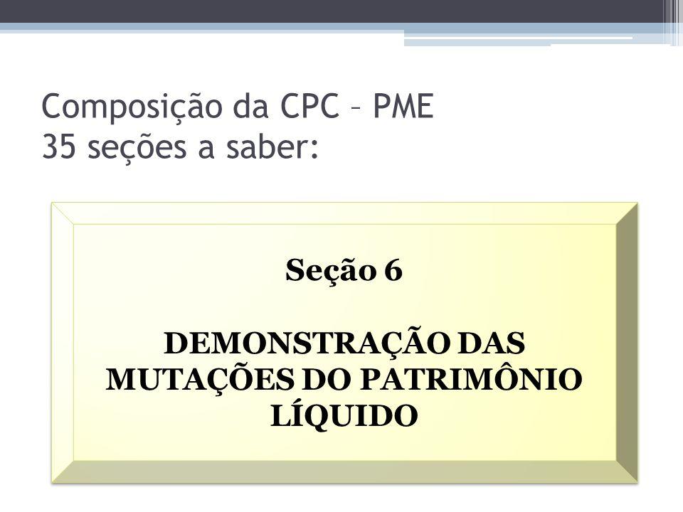 Composição da CPC – PME 35 seções a saber: Seção 6 DEMONSTRAÇÃO DAS MUTAÇÕES DO PATRIMÔNIO LÍQUIDO Seção 6 DEMONSTRAÇÃO DAS MUTAÇÕES DO PATRIMÔNIO LÍQ