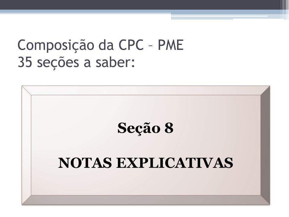 Composição da CPC – PME 35 seções a saber: Seção 8 NOTAS EXPLICATIVAS Seção 8 NOTAS EXPLICATIVAS