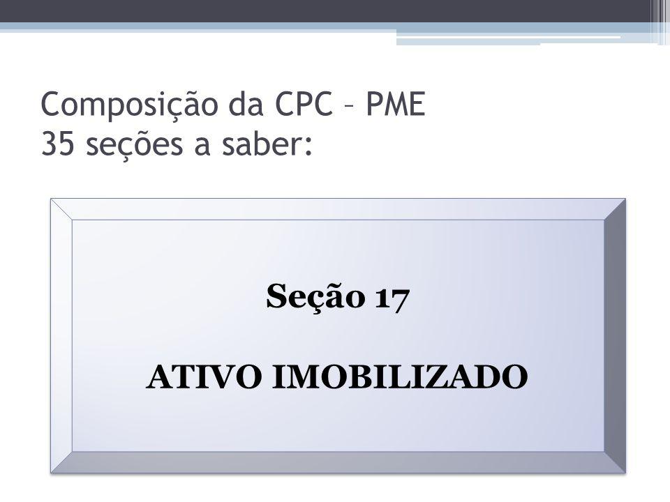 Composição da CPC – PME 35 seções a saber: Seção 17 ATIVO IMOBILIZADO Seção 17 ATIVO IMOBILIZADO