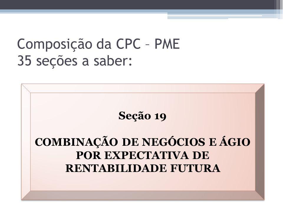 Composição da CPC – PME 35 seções a saber: Seção 19 COMBINAÇÃO DE NEGÓCIOS E ÁGIO POR EXPECTATIVA DE RENTABILIDADE FUTURA Seção 19 COMBINAÇÃO DE NEGÓC