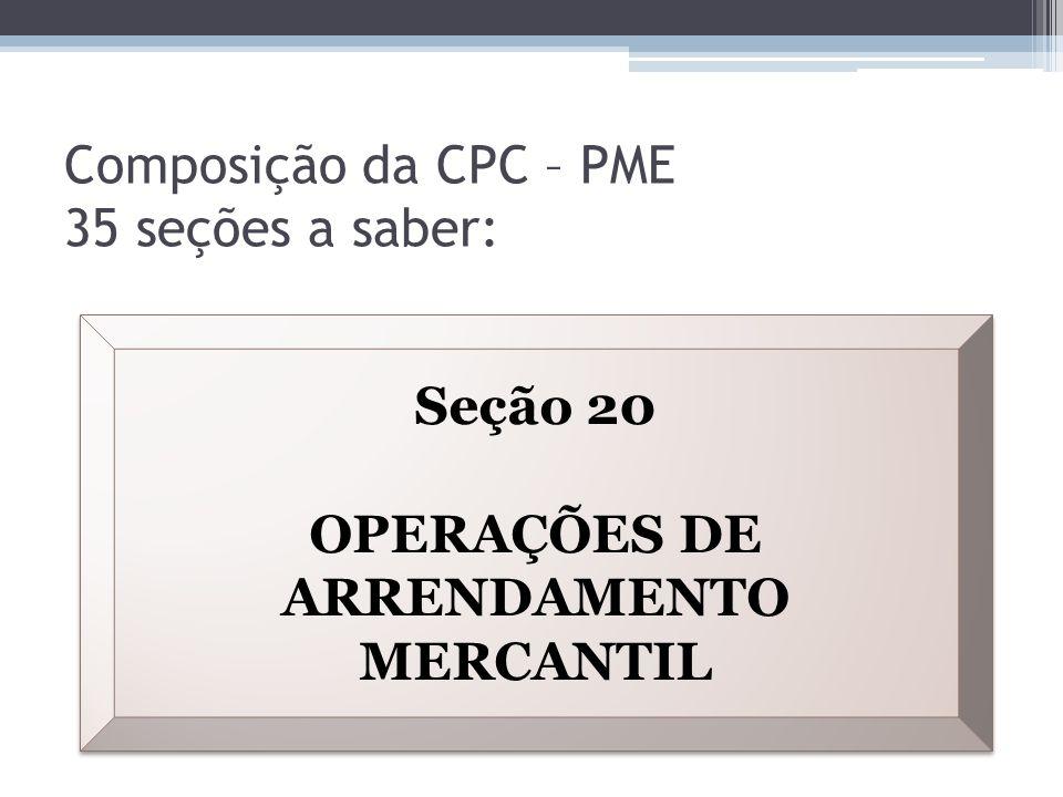 Composição da CPC – PME 35 seções a saber: Seção 20 OPERAÇÕES DE ARRENDAMENTO MERCANTIL Seção 20 OPERAÇÕES DE ARRENDAMENTO MERCANTIL