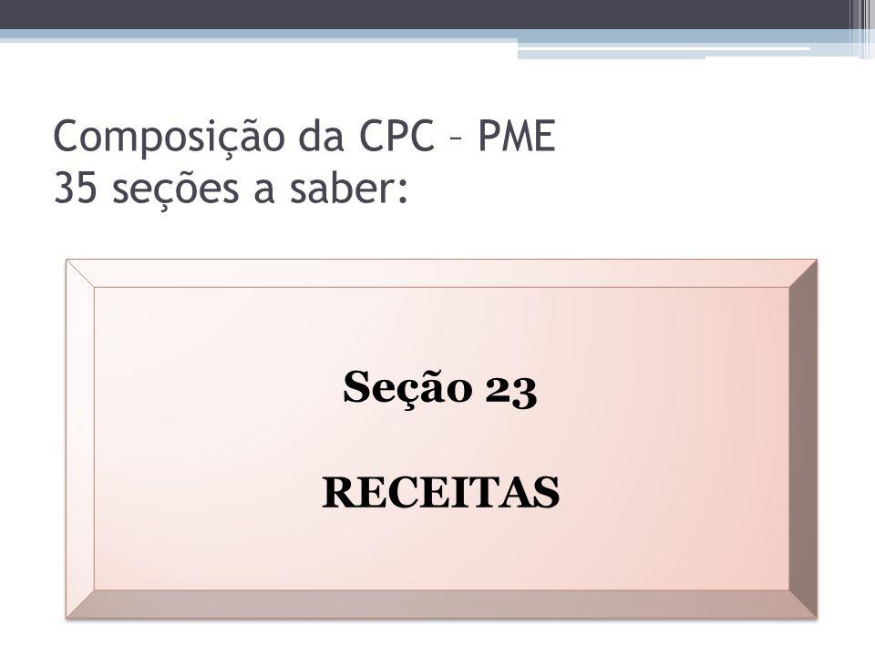 Composição da CPC – PME 35 seções a saber: Seção 23 RECEITAS Seção 23 RECEITAS