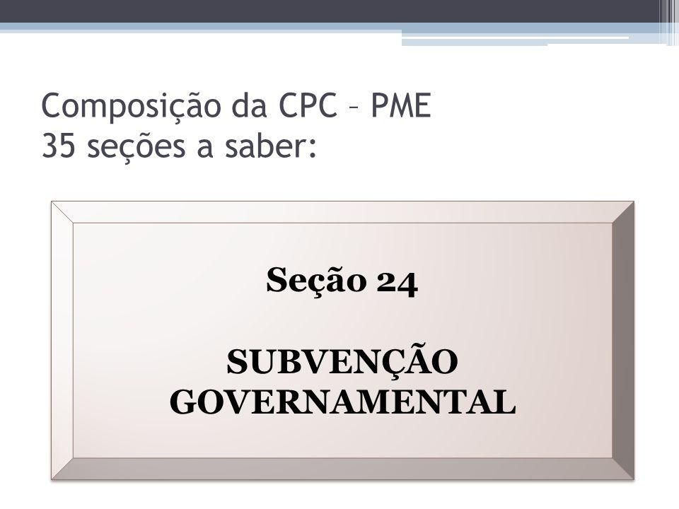 Composição da CPC – PME 35 seções a saber: Seção 24 SUBVENÇÃO GOVERNAMENTAL Seção 24 SUBVENÇÃO GOVERNAMENTAL