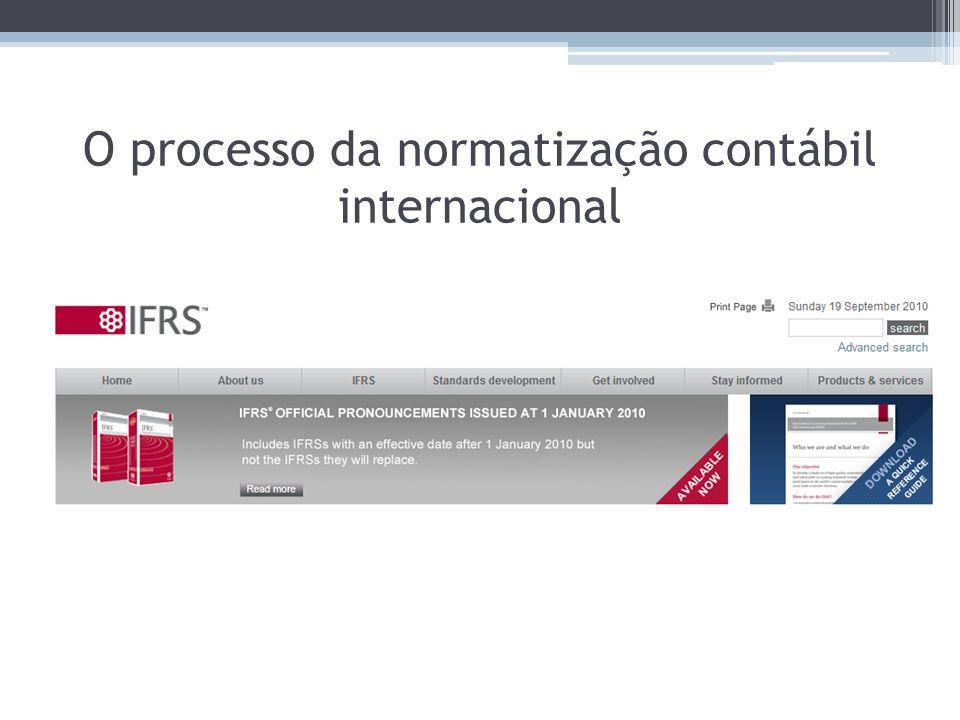 O processo da normatização contábil internacional