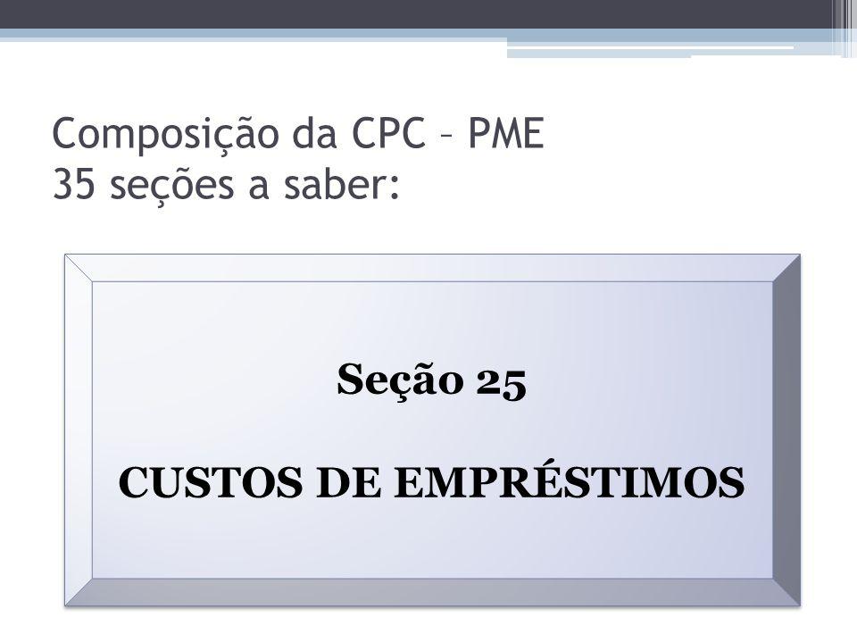 Composição da CPC – PME 35 seções a saber: Seção 25 CUSTOS DE EMPRÉSTIMOS Seção 25 CUSTOS DE EMPRÉSTIMOS