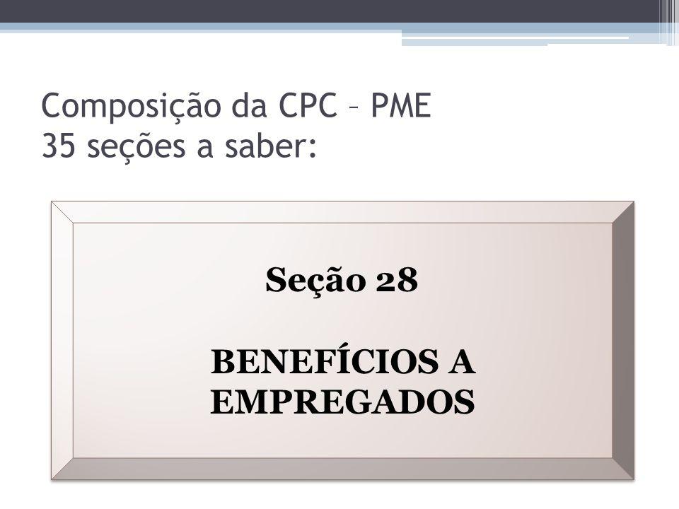 Composição da CPC – PME 35 seções a saber: Seção 28 BENEFÍCIOS A EMPREGADOS Seção 28 BENEFÍCIOS A EMPREGADOS