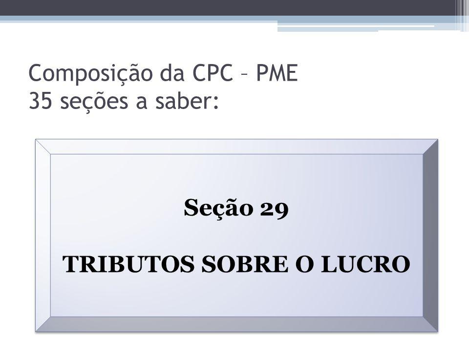 Composição da CPC – PME 35 seções a saber: Seção 29 TRIBUTOS SOBRE O LUCRO Seção 29 TRIBUTOS SOBRE O LUCRO