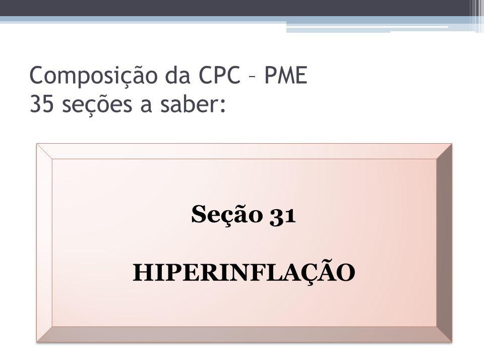 Composição da CPC – PME 35 seções a saber: Seção 31 HIPERINFLAÇÃO Seção 31 HIPERINFLAÇÃO