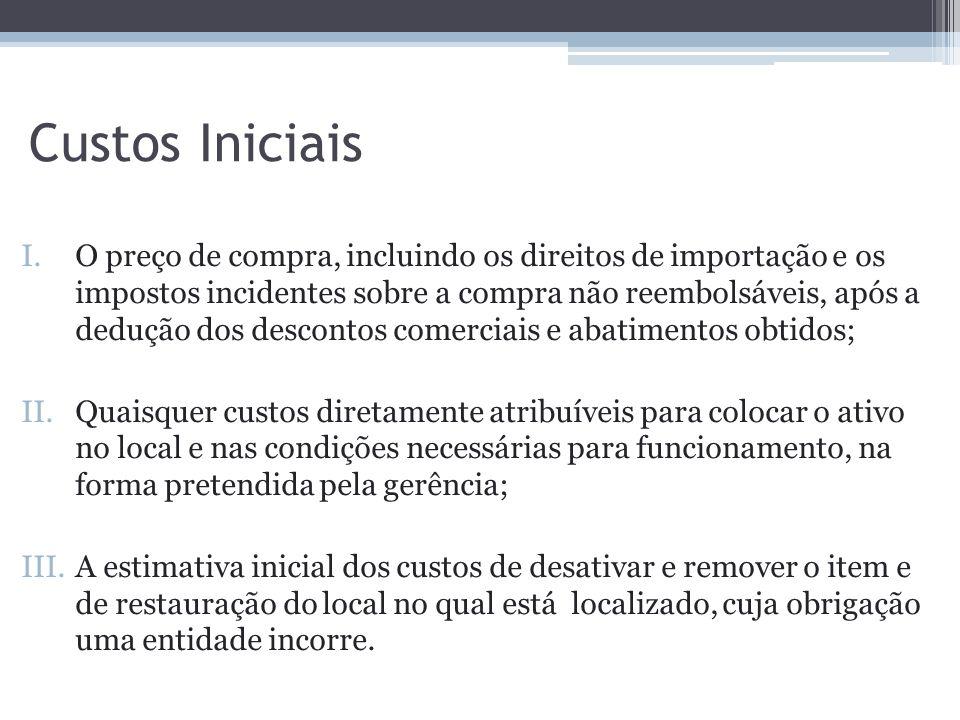 Custos Iniciais I.O preço de compra, incluindo os direitos de importação e os impostos incidentes sobre a compra não reembolsáveis, após a dedução dos