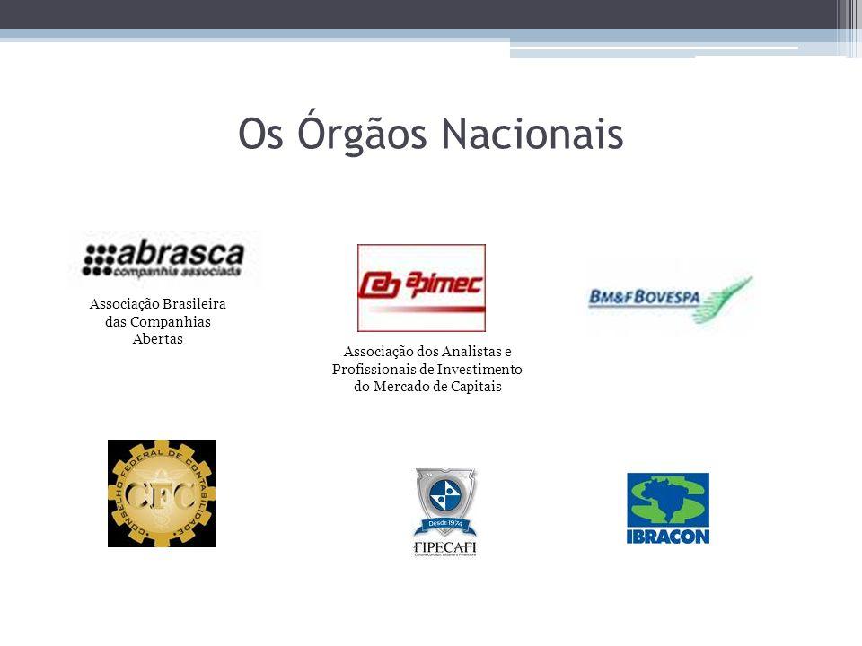 Os Órgãos Nacionais Associação dos Analistas e Profissionais de Investimento do Mercado de Capitais Associação Brasileira das Companhias Abertas