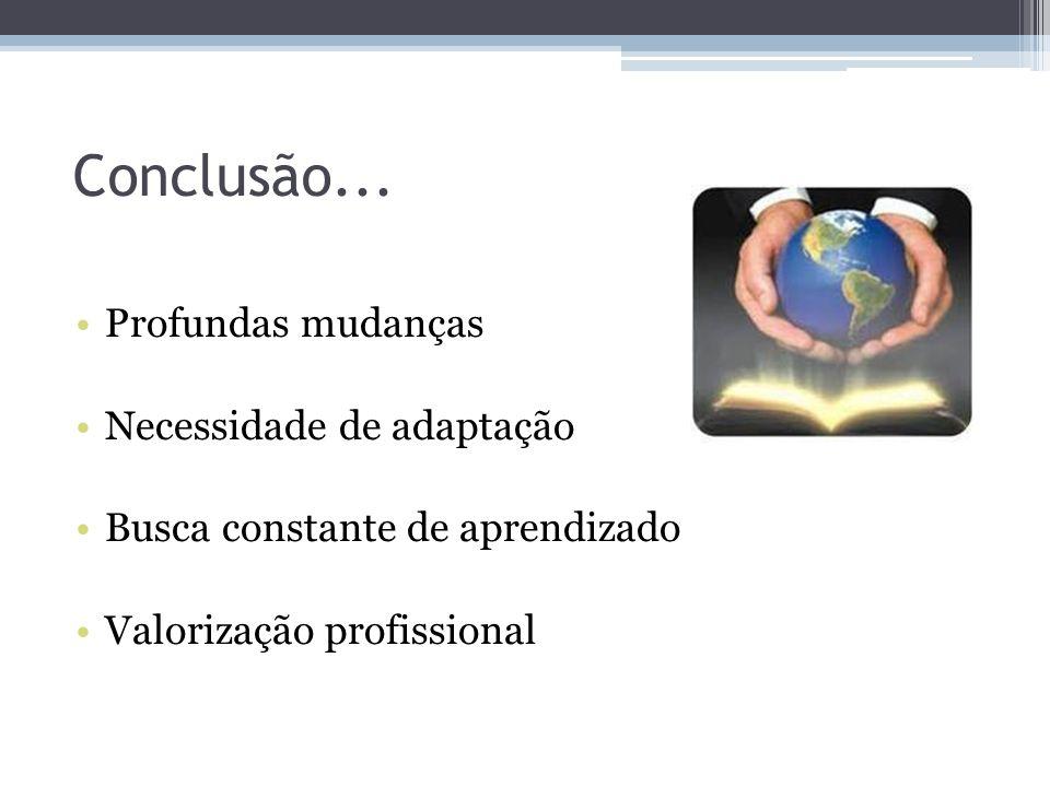 Conclusão... Profundas mudanças Necessidade de adaptação Busca constante de aprendizado Valorização profissional