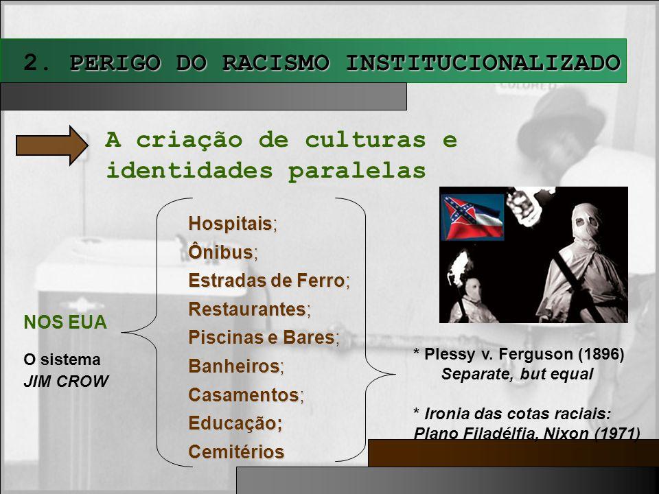 PERIGO DO RACISMO INSTITUCIONALIZADO 2. PERIGO DO RACISMO INSTITUCIONALIZADO A criação de culturas e identidades paralelas NOS EUA O sistema JIM CROW