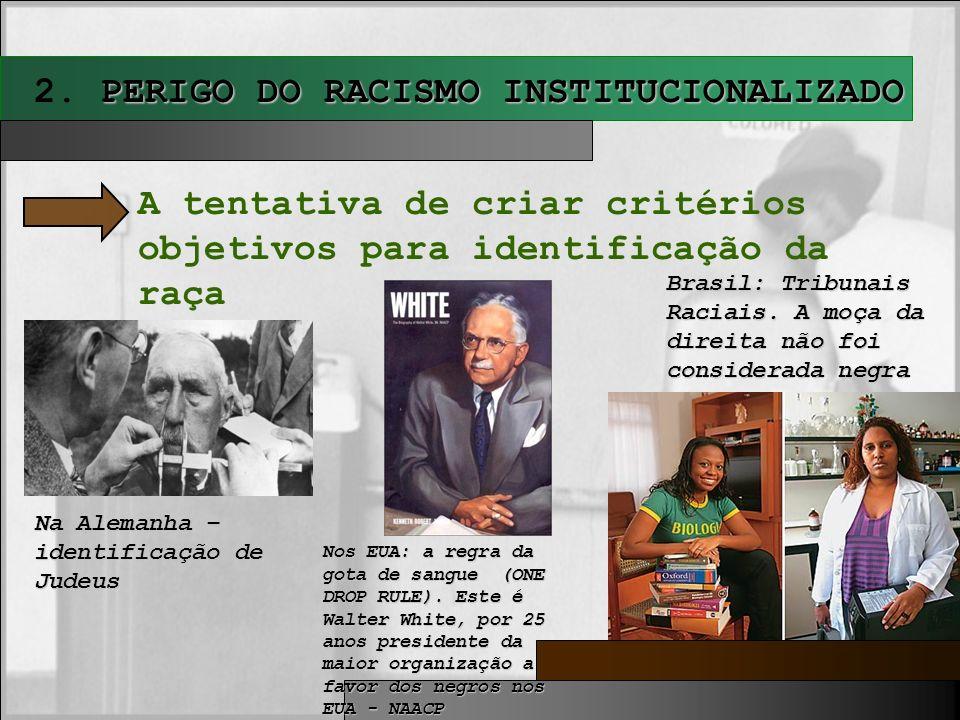 PERIGO DO RACISMO INSTITUCIONALIZADO 2. PERIGO DO RACISMO INSTITUCIONALIZADO A tentativa de criar critérios objetivos para identificação da raça Na Al