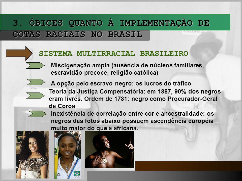 ÓBICES QUANTO À IMPLEMENTAÇÃO DE COTAS RACIAIS NO BRASIL 3. ÓBICES QUANTO À IMPLEMENTAÇÃO DE COTAS RACIAIS NO BRASIL SISTEMA MULTIRRACIAL BRASILEIRO M